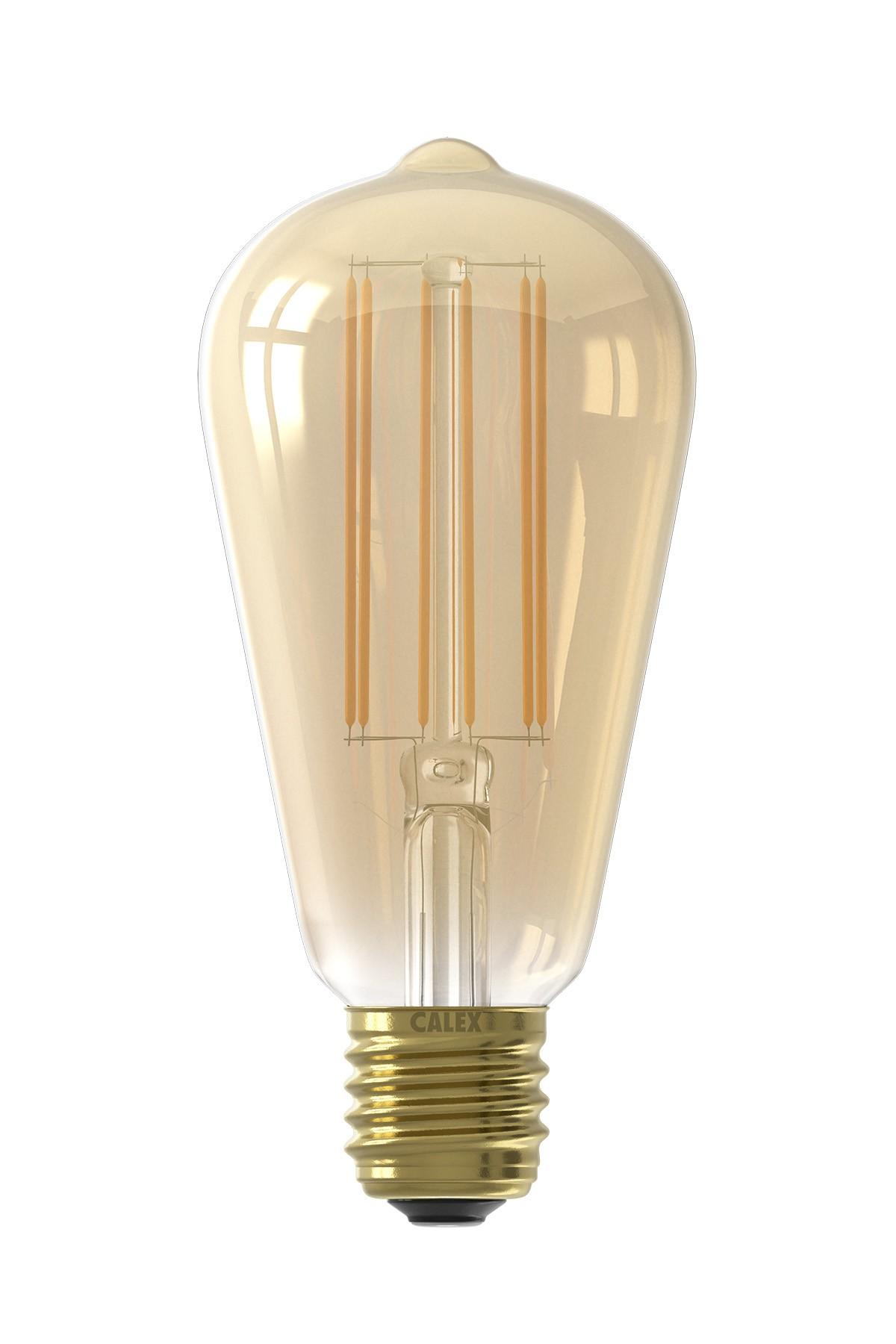Calex LED volglas LangFilament Rustieklamp 240V 4W 400lm E27 ST64, Goud 2100K met sensor