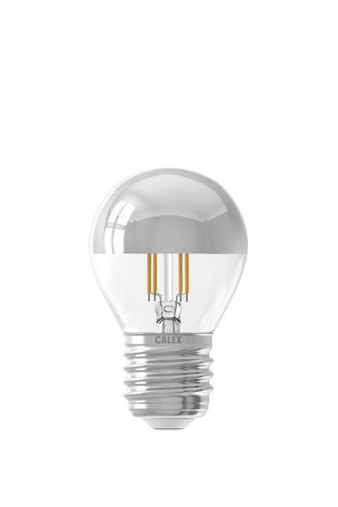 Calex LED Full Glass Top-mirror Filament Ball-lamp 220-240V 4W 310lm E27 P45, Chrome 2700K CRI80 Dimmable