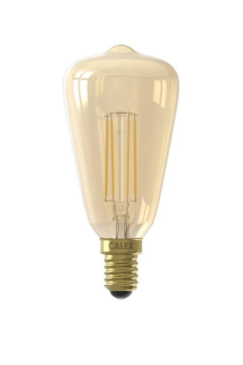 Calex LED volglas Filament Rustieklamp 220-240V 4W 320lm E14 ST48, Goud 2100K Dimbaar