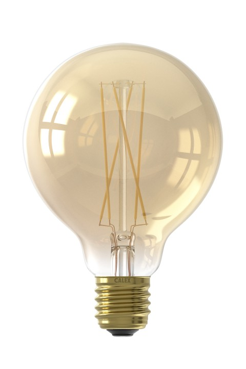 Calex LED Full Glass LongFilament Globe Lamp 220-240V 6W 430lm E27 G95, Gold 2100K Dimmable