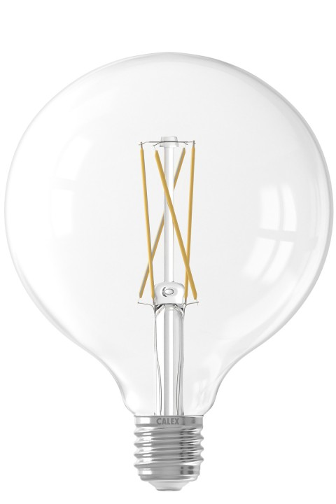 Calex LED Full Glass LongFilament Globe Lamp 220-240V 6W 500lm E27 G125, Helder 2300K Dimmable