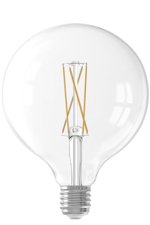 Calex LED volglas LangFilament Globelamp 220-240V 6W 500lm E27 G125, Helder 2300K Dimbaar