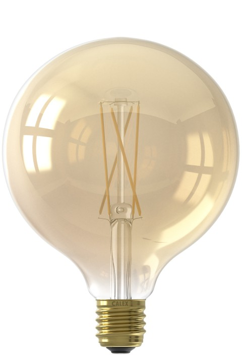 Calex LED volglas LangFilament Globelamp 220-240V 6W 430lm E27 G125, Goud 2100K Dimbaar