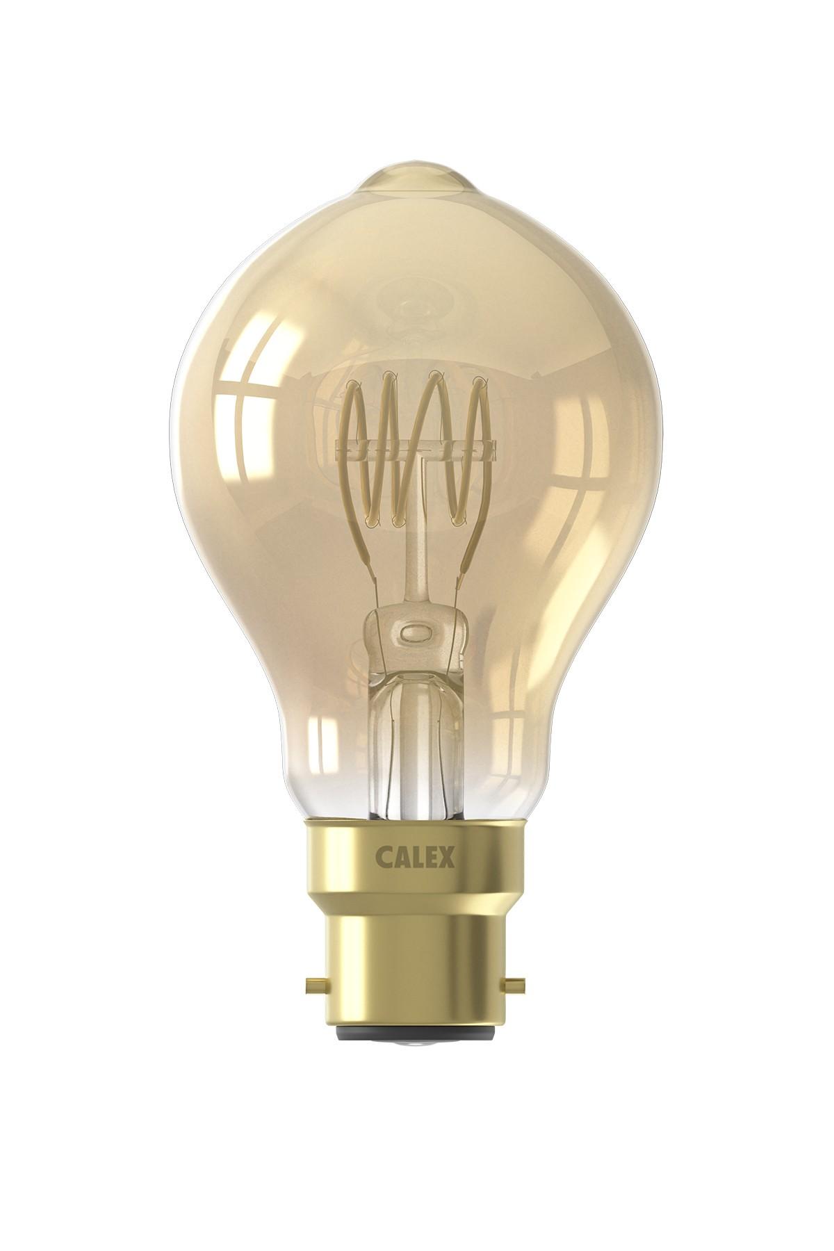 Calex LED volglas Flex Filament Standaardlamp 220-240V 4W 200lm B22 A60DR, Goud 2100K Dimbaar