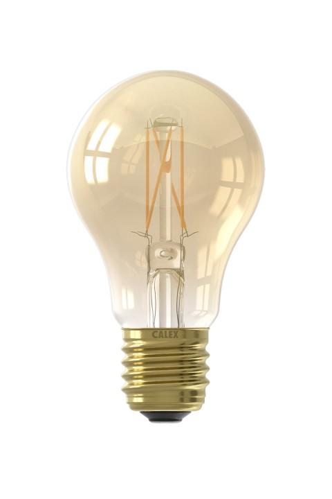 Calex LED volglas Filament Standaardlamp  220-240V 4W 310lm E27 A60, Goud 2100K CRI80 Dimbaar
