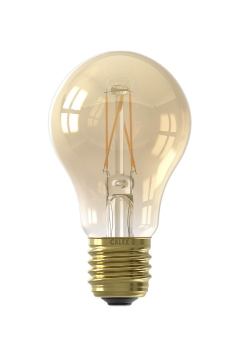 Calex LED volglas Filament Standaardlamp  220-240V 6,5W 600lm E27 A60, Goud 2100K CRI80 Dimbaar