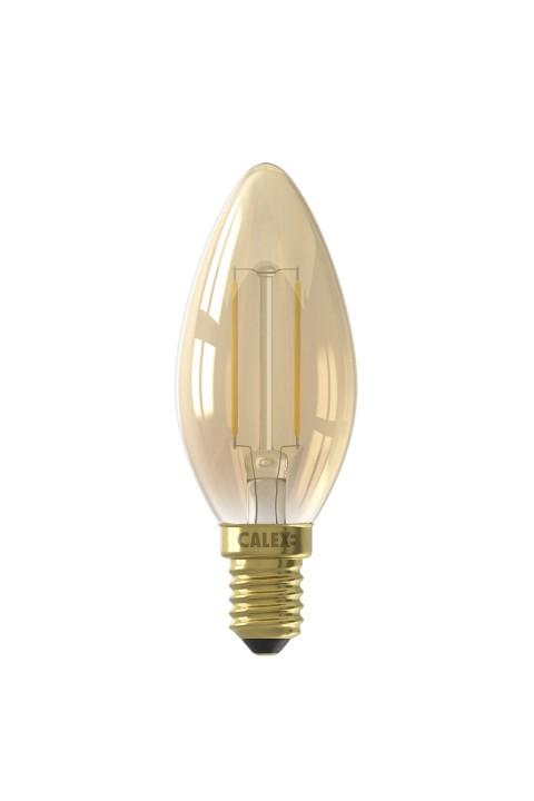 Calex LED Filament Kaarslamp  220-240V 2W E14 B35, Goud 2100K