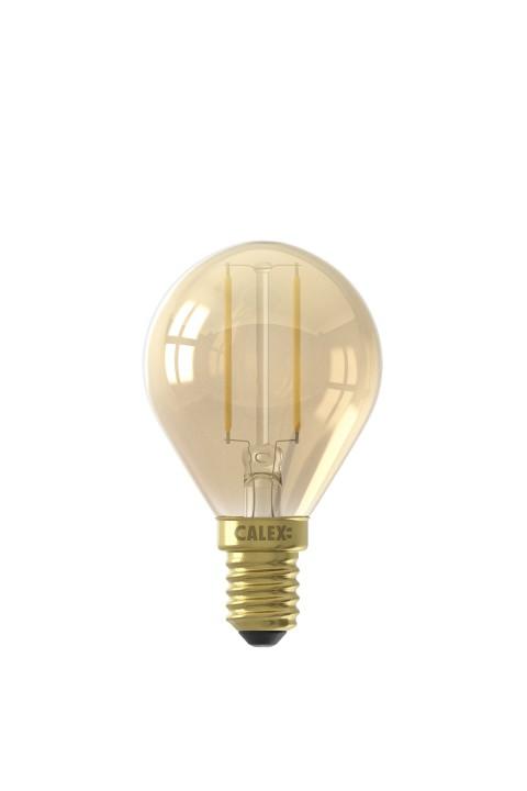 Calex LED volglas Filament Kogellamp  220-240V 2W 130lm E14 P45, Goud 2100K