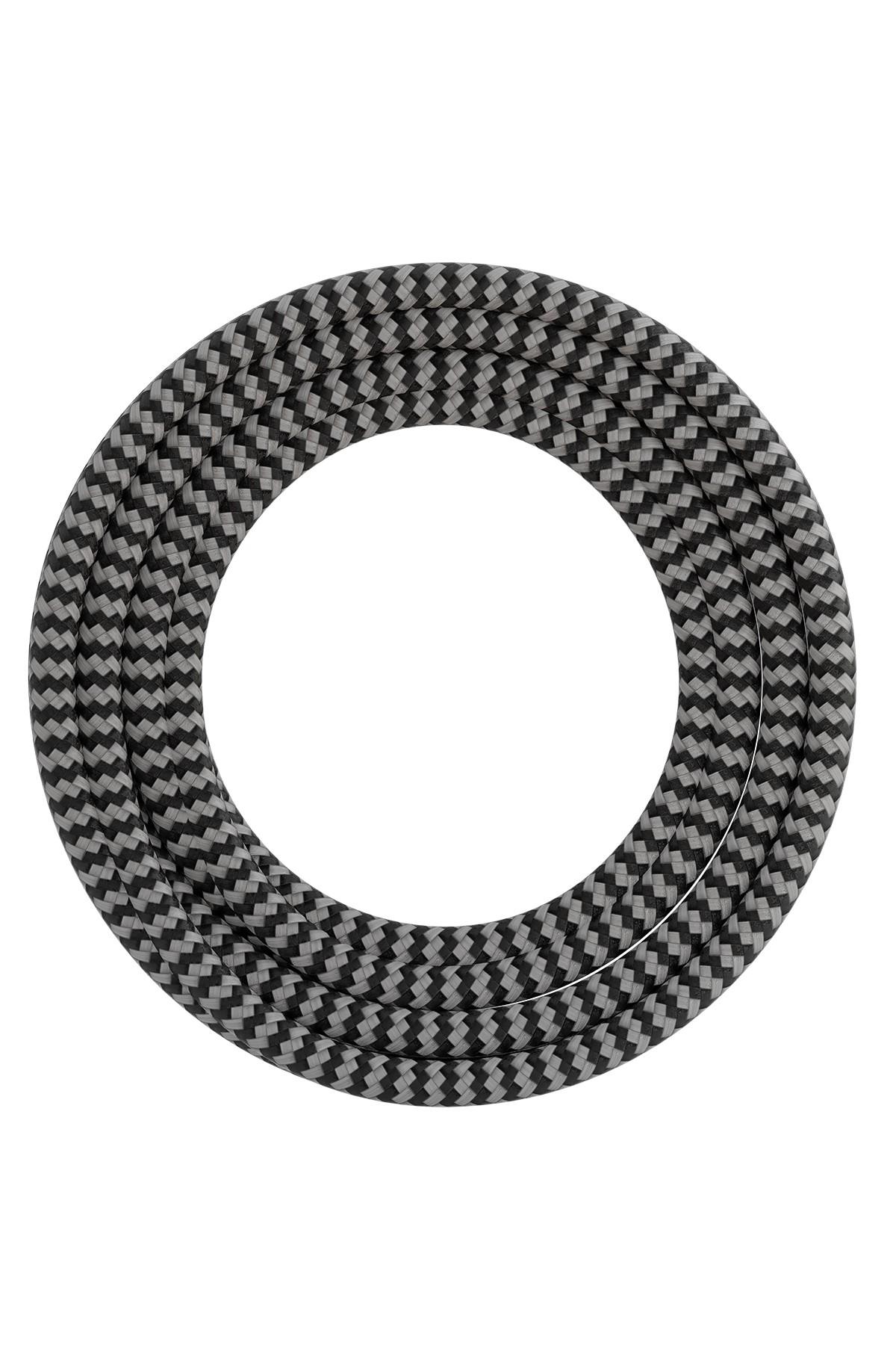 Calex textiel omwikkelde kabel 2x0,75mm2 1,5M zwart/wit, max.250V-60W