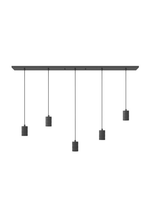 Multi Cord Set Black 5x E27