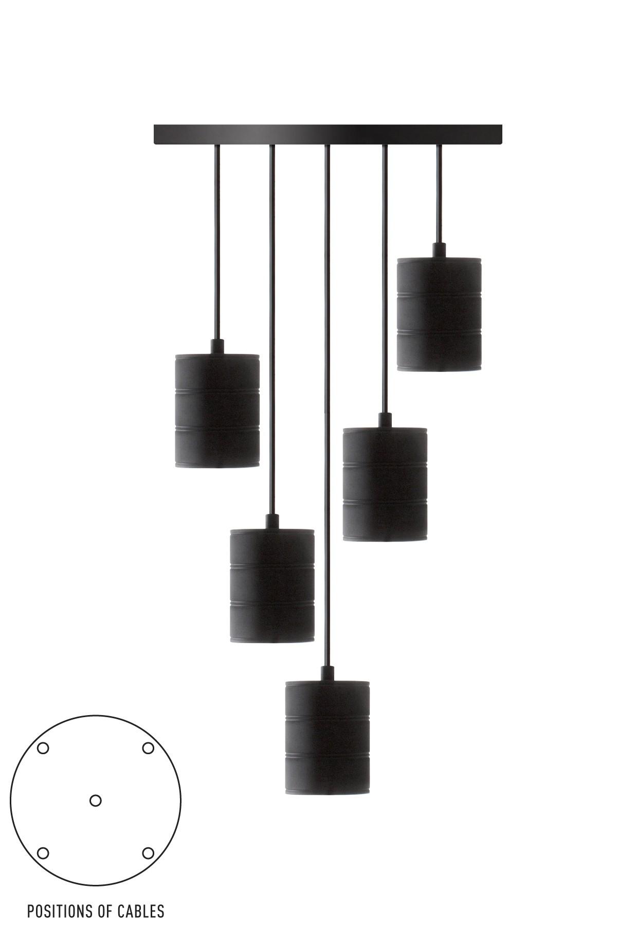 Giant Multi Pendule Zwart 5 E40